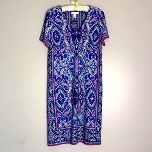 London Times Paisley V Neck Shift Dress mini 12
